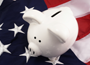 Piggy Bank on a U.S. Flag